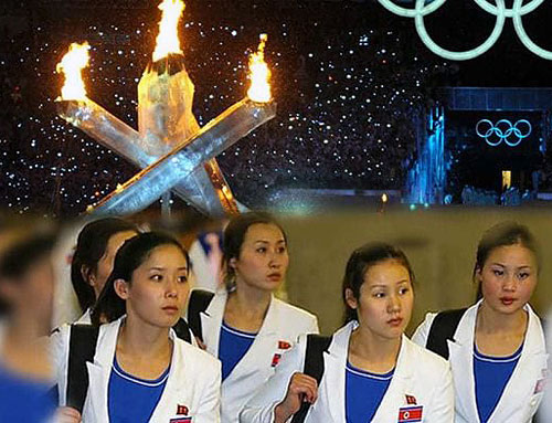 dcb2ffa0c96f PYEONGCHANG, South Korea — The delegation of North Korean athletes taking  part in the 2018 Winter Olympics have been spotted huddling near the  Olympic flame ...